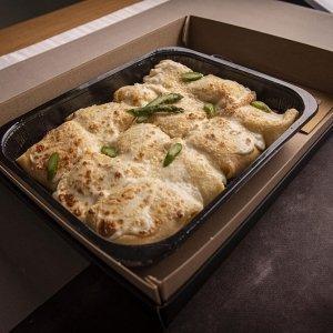 Catering primo fagotti crespella asparagi gamberi 02